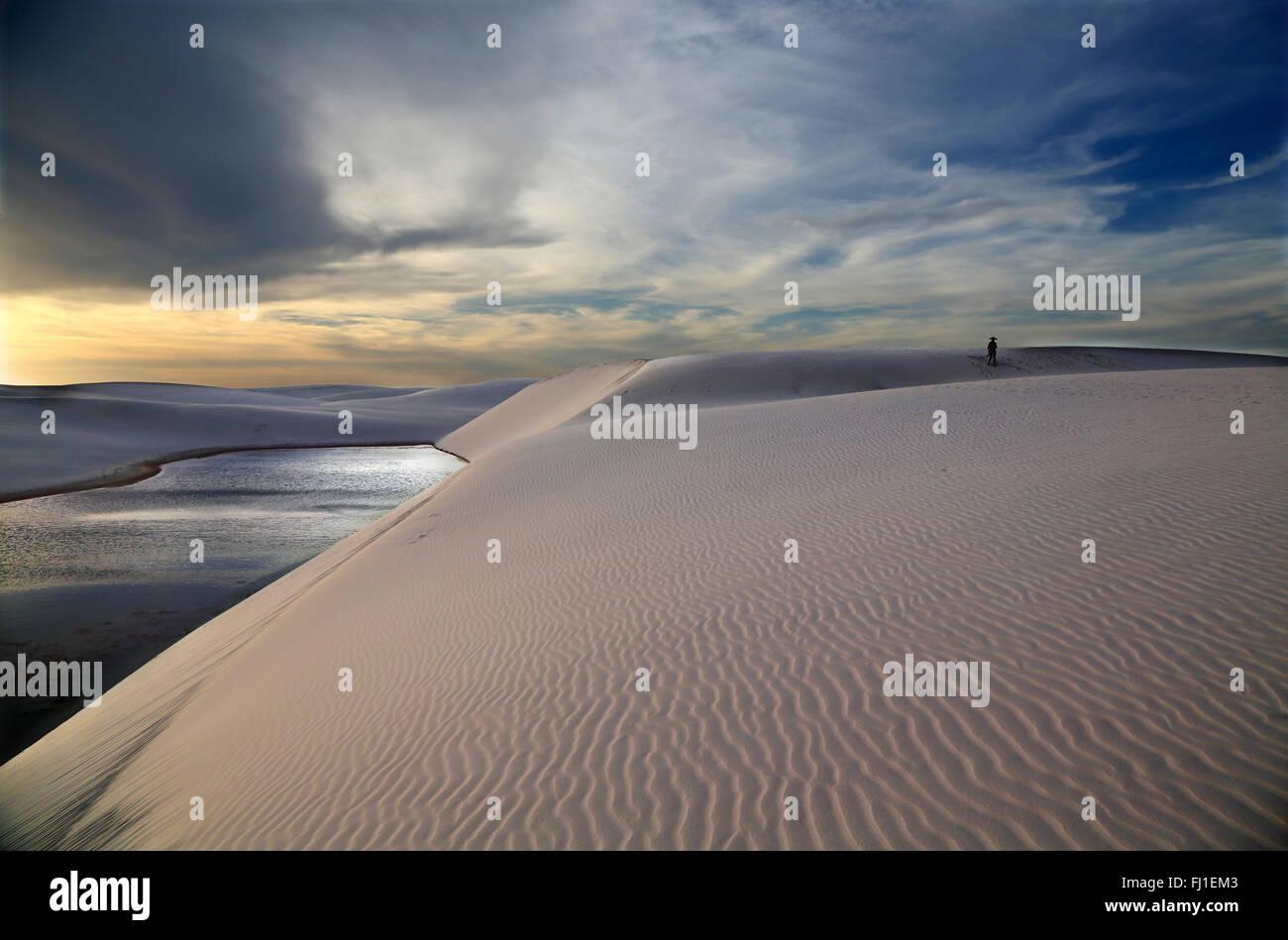 Sand Dune und die Landschaft von lençois Maranhenses, Barreirinhas, Maranhão, Brasilien Stockbild