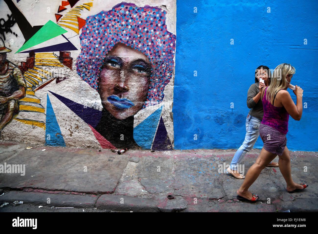 Malerei Kunst in einer Straße von Rio de Janeiro, Brasilien Stockfoto