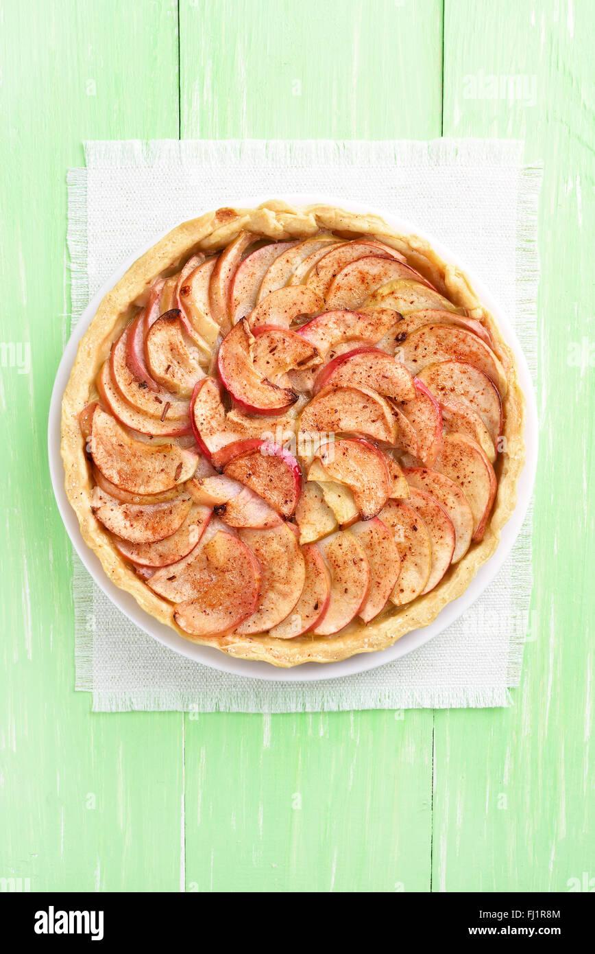Apfelkuchen, Top Aussicht Stockbild