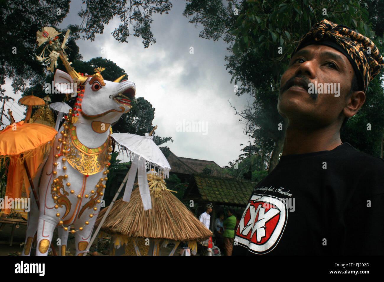 Die einäscherung Zeremonie, Ngaben, Pelebon Yadyna Pitra, in Bali, Indonesien Stockbild