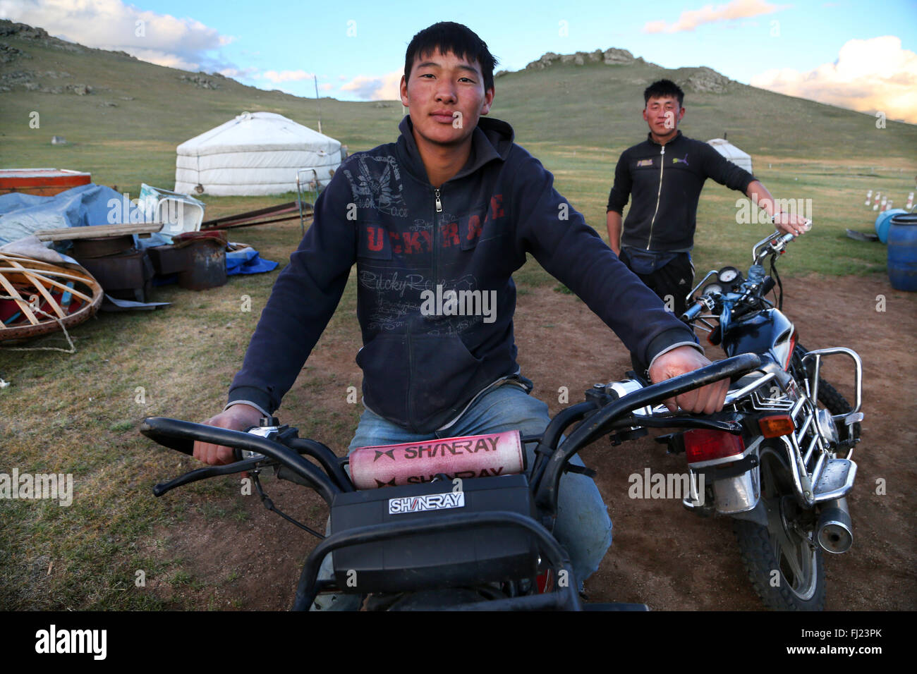 Porträt des Mannes aus der Mongolei Stockbild