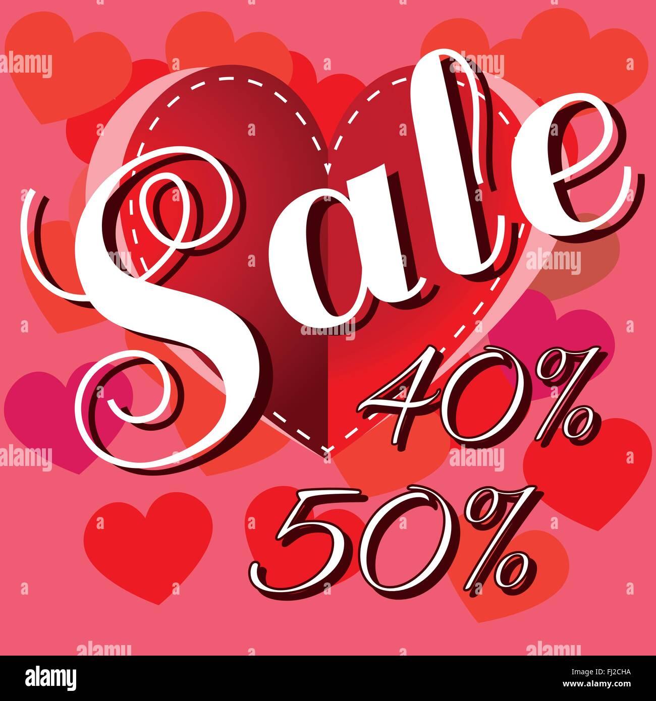 Happy Valentinstag Verkauf Banner. Großes Rotes Herz Mit Stichen Und Weißen  Werbetext. Verkauf Nachricht Digital Hintergrund Vecto