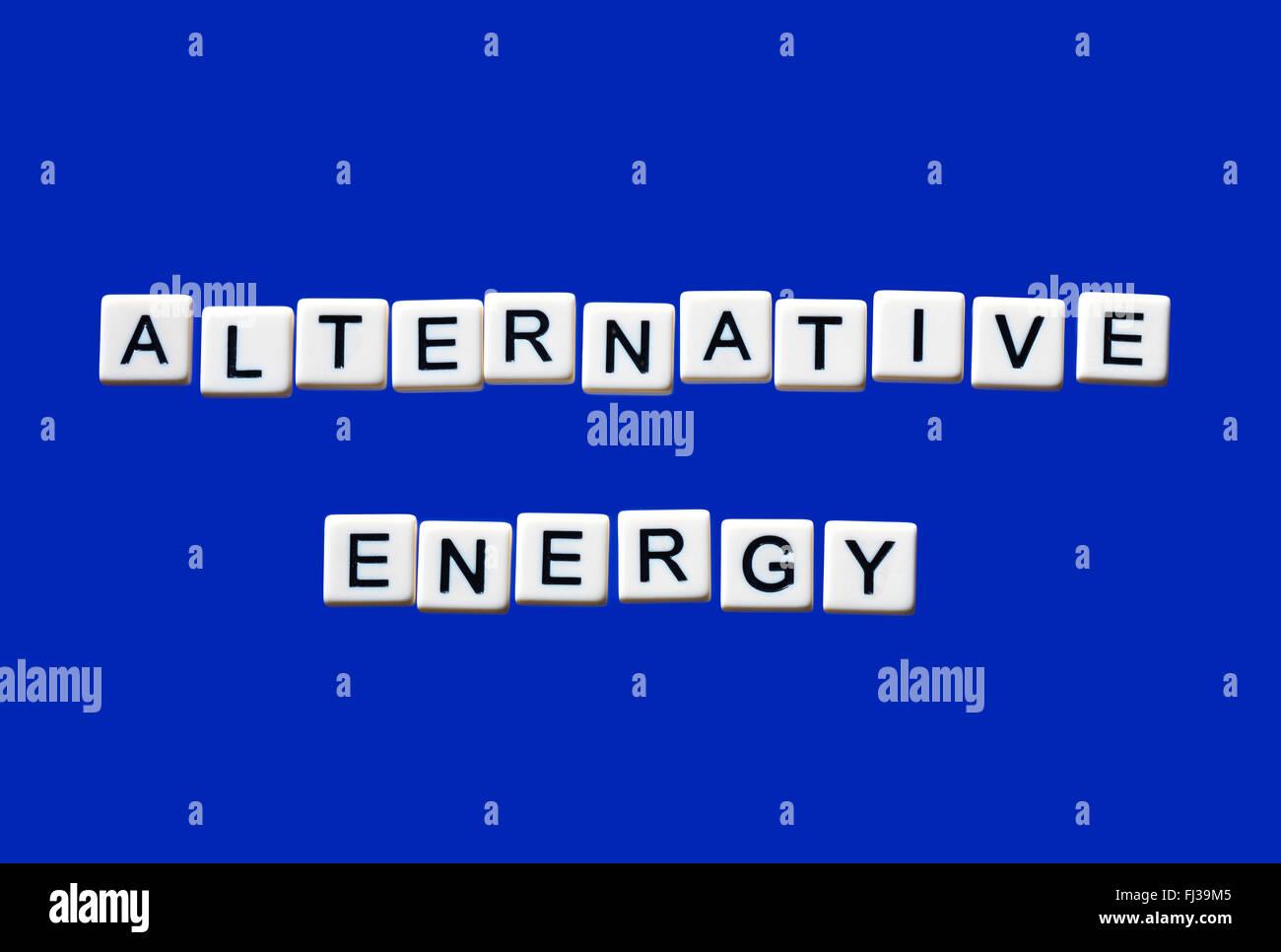 Alternative Energien auf weißen Blöcke hervorgehoben Stockbild