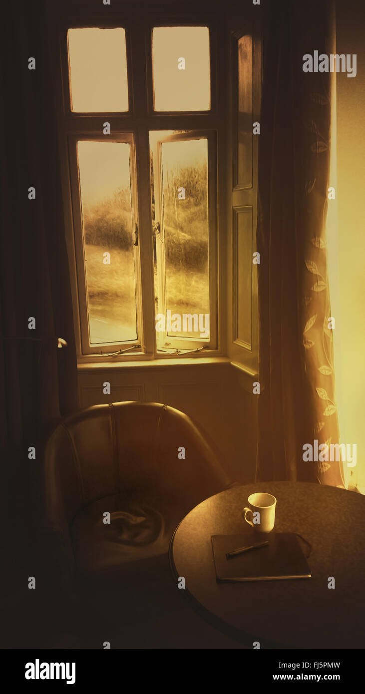 Schriftsteller Zimmer mit Tasse, Skizzenbuch auf dem hölzernen Tisch, Sessel Stockbild