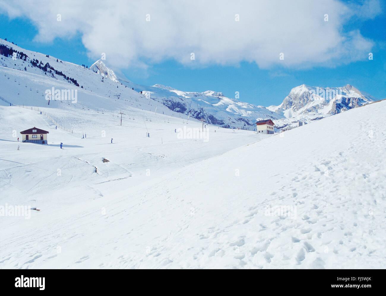 Candanchu Skigebiet. Huesca Provinz, Aragon, Spanien. Stockbild