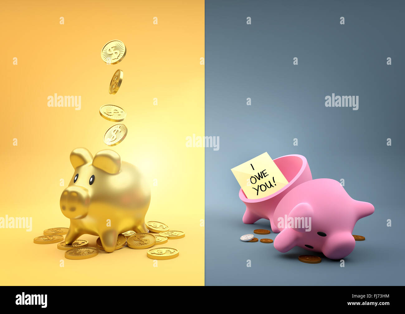 Anderes Vermögen. Zwei Spardosen Piggy - ein voller Gold die anderen leer außer ein paar Pfennige. Stockfoto
