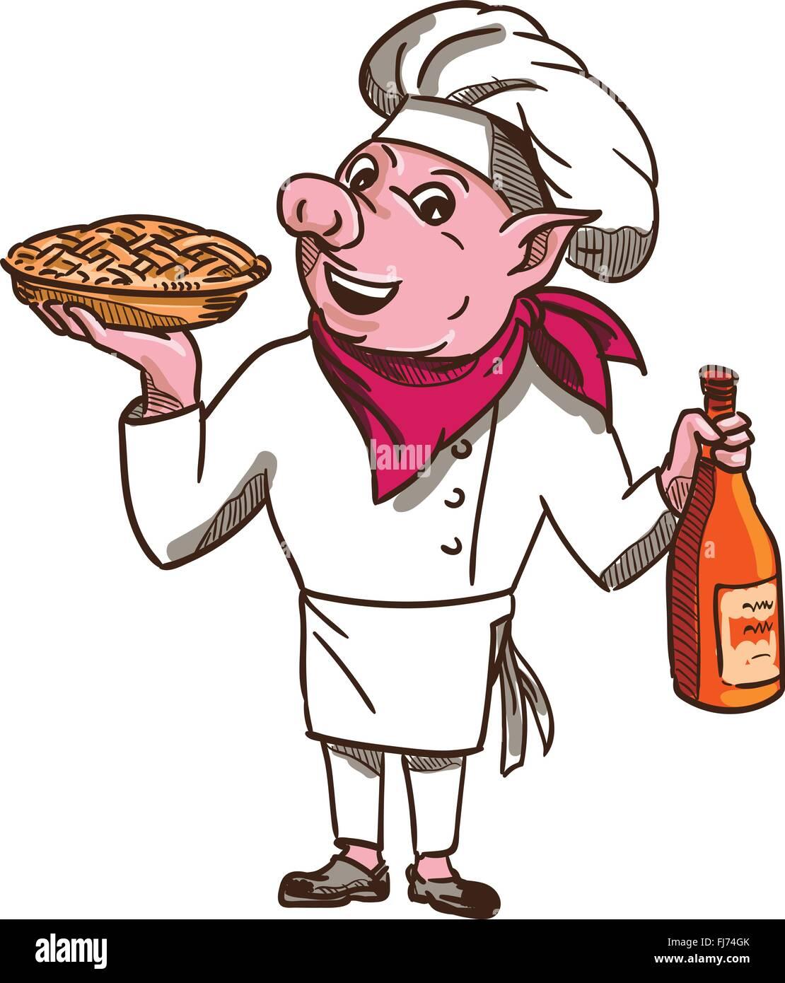 Beispiel Fur Ein Schwein Chef Koch Halt Ein Kuchen Und Eine Flasche