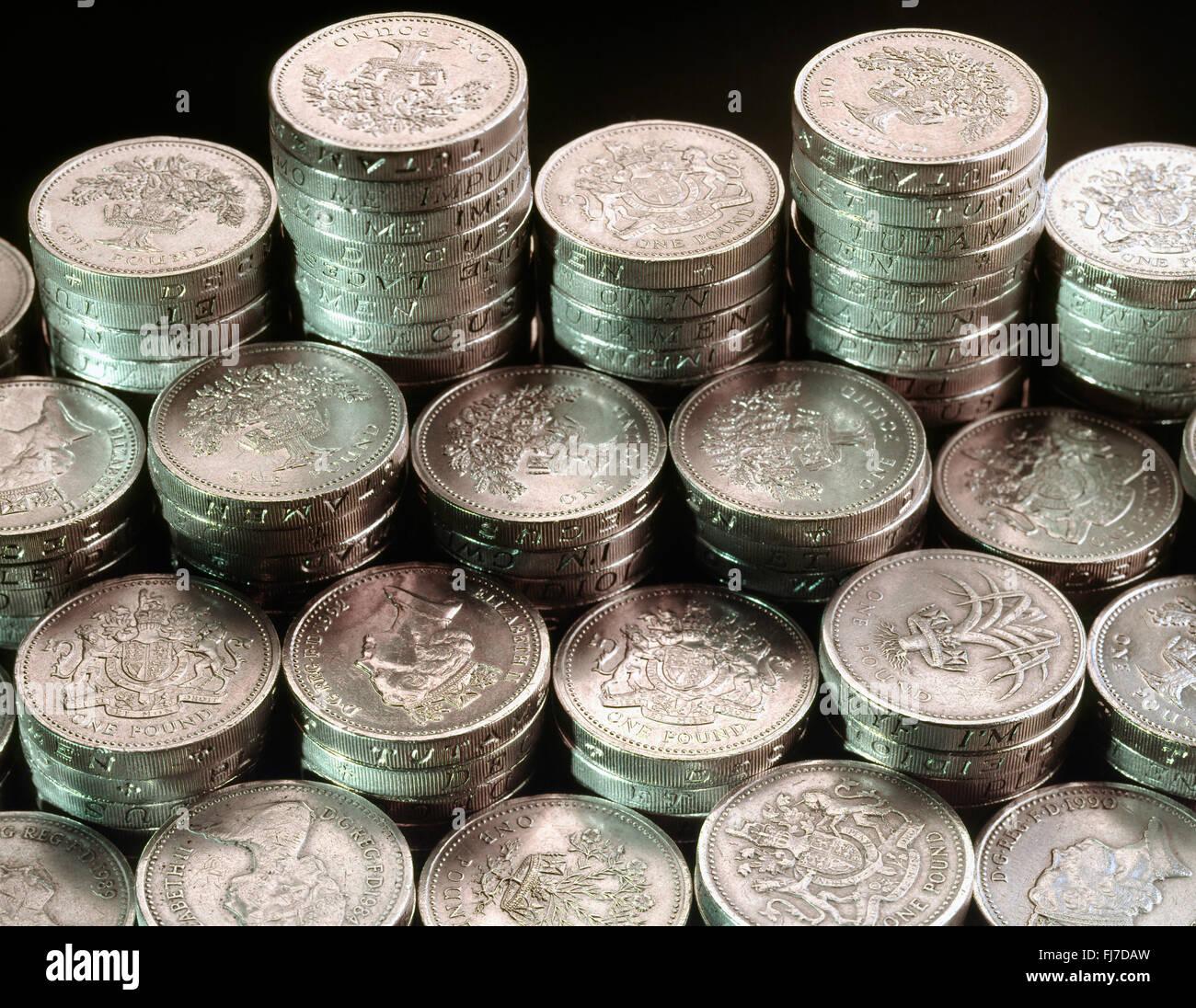 Stapel Von Britischen Pfund Münzen London England Vereinigtes