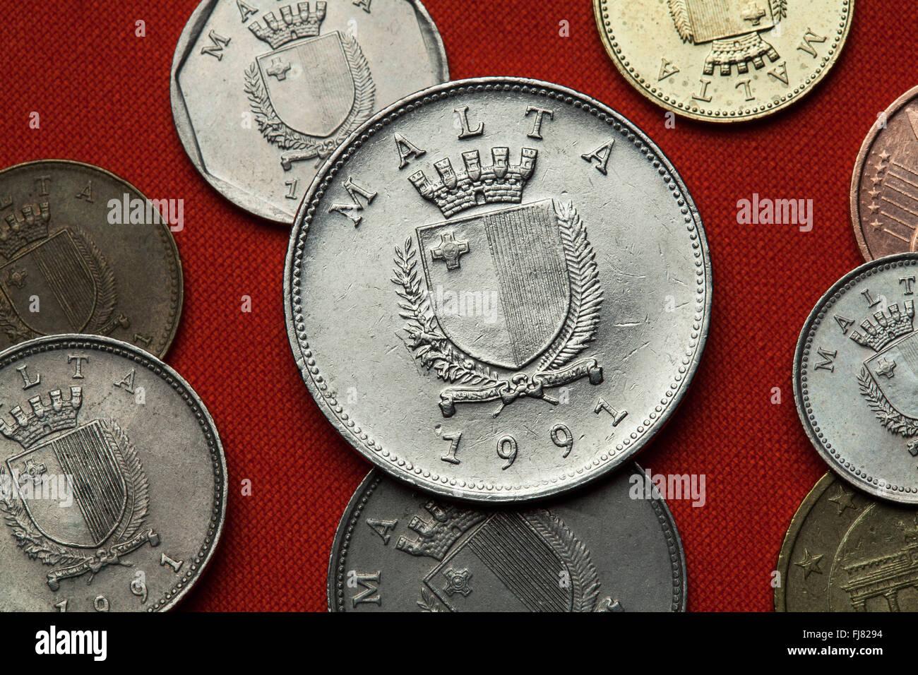 Münzen Aus Malta Wappen Von Malta In Die Maltesische Lira Münzen