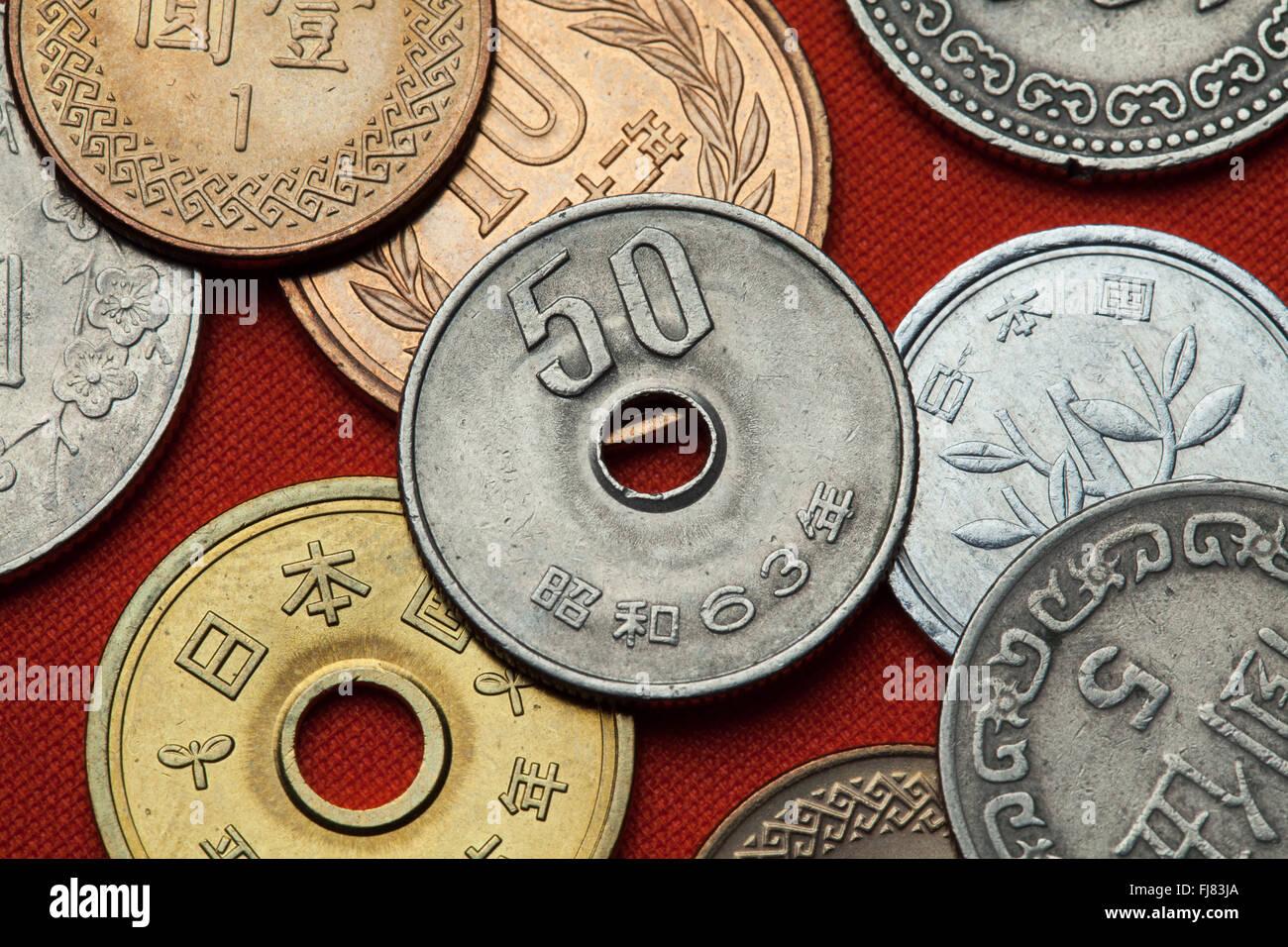 Münzen Von Japan Japanische 50 Yen Münze Stockfoto Bild 97294130