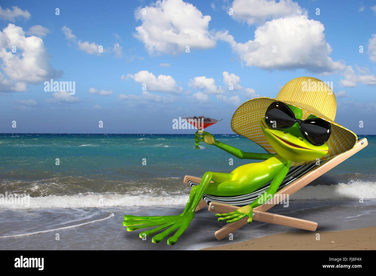 beispiel f r einen gr nen frosch im liegestuhl am strand stockfoto bild 97303162 alamy. Black Bedroom Furniture Sets. Home Design Ideas