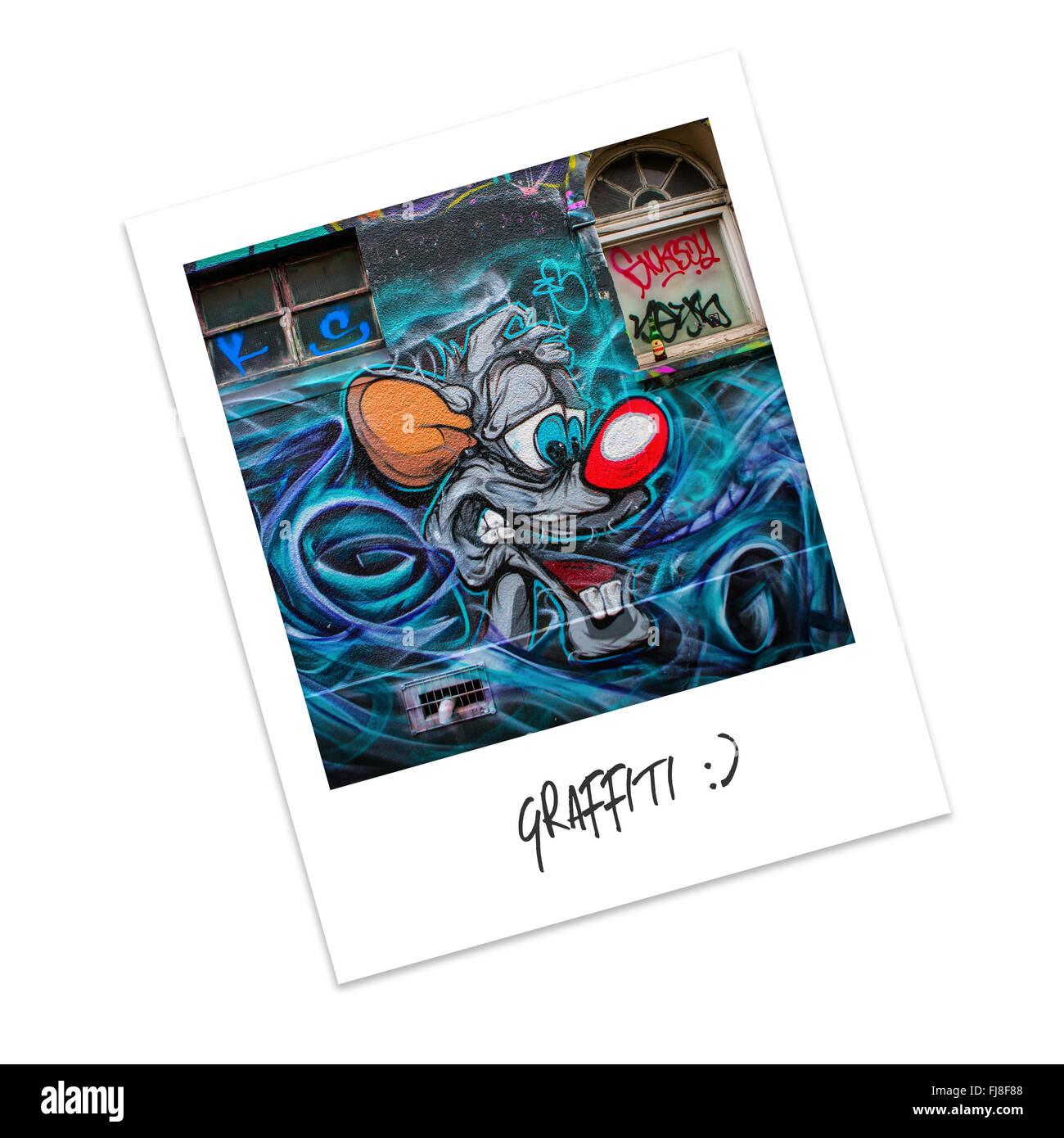 Polaroid-Foto von graffiti Stockbild