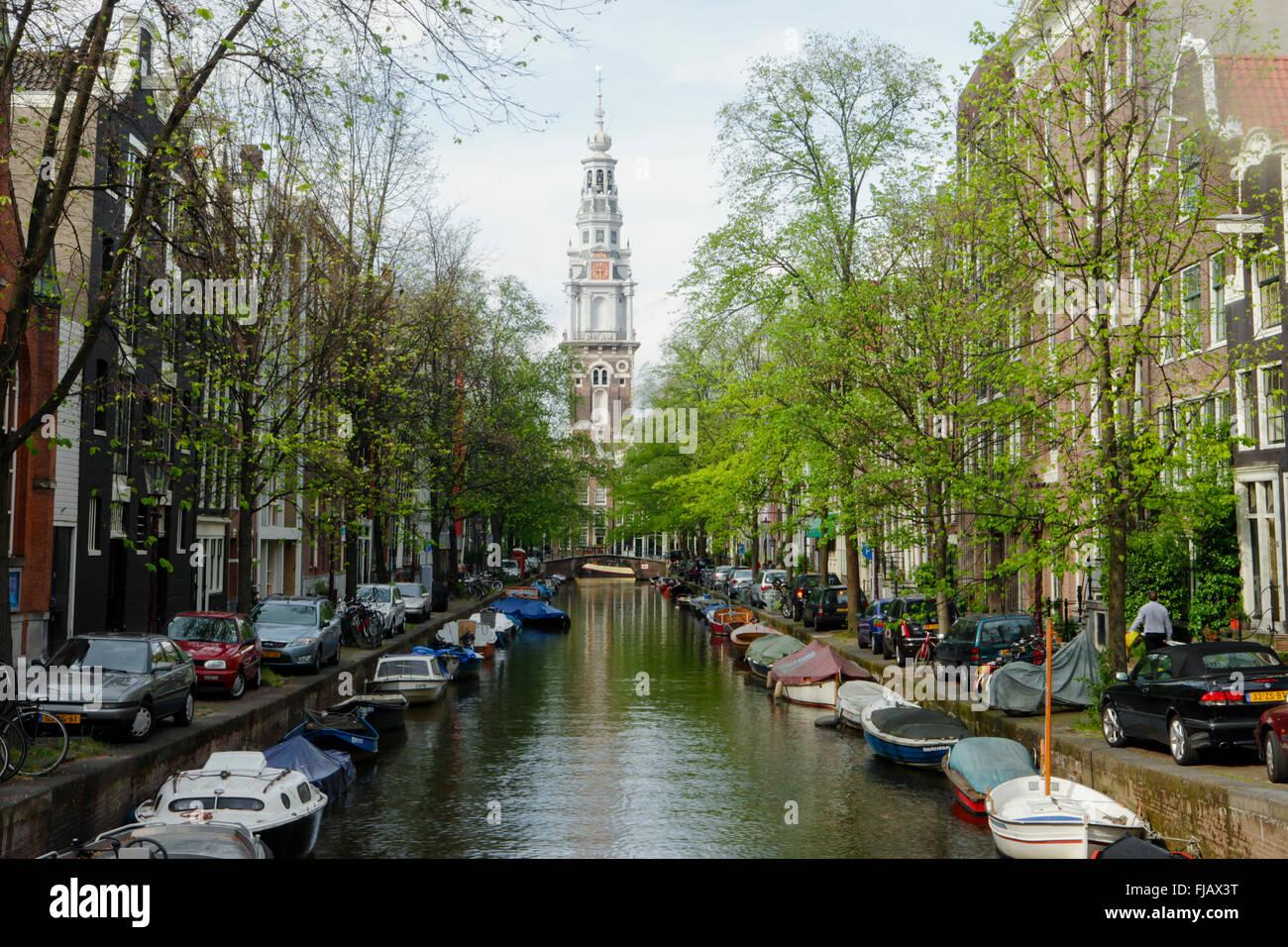 Kanal-Landschaft in Amsterdam Stockbild