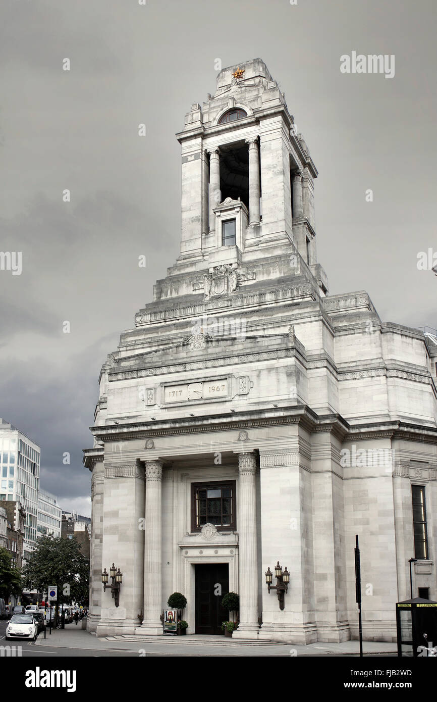 Die Vereinigten Großloge von England in der Zentrale - Freimaurer' Hall in Covent Garden, London Stockbild