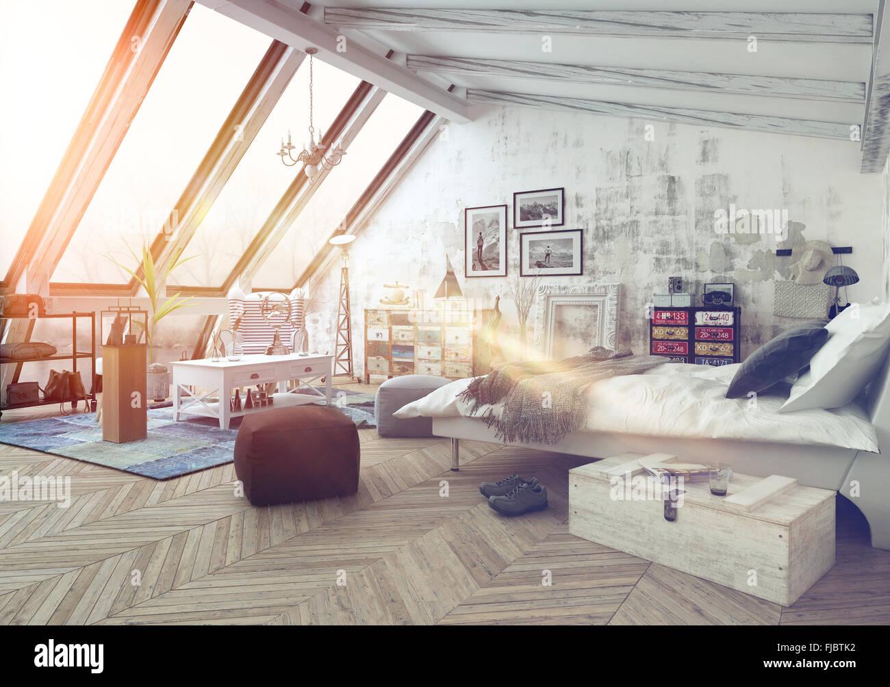 Sonnenlicht In Moderne Hipster Stil Loft Schlafzimmer In Hartholz Fußböden  Mit Bildern, Sitzkissen Und Andere Decora Abgedeckt