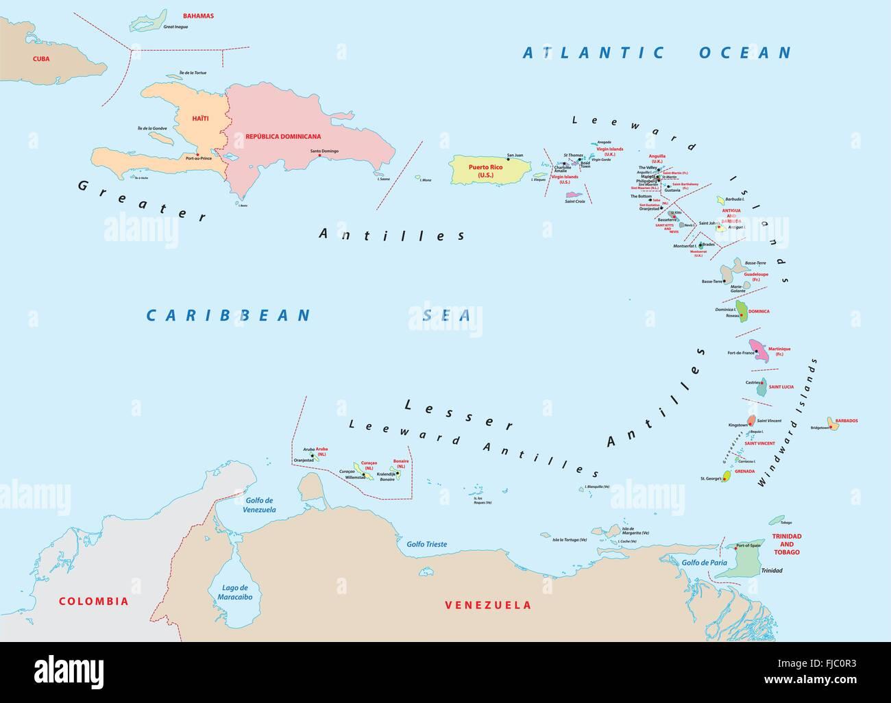 Kleine Antillen Karte.Kleine Antillen Karte Vektor Abbildung Bild 97379719 Alamy