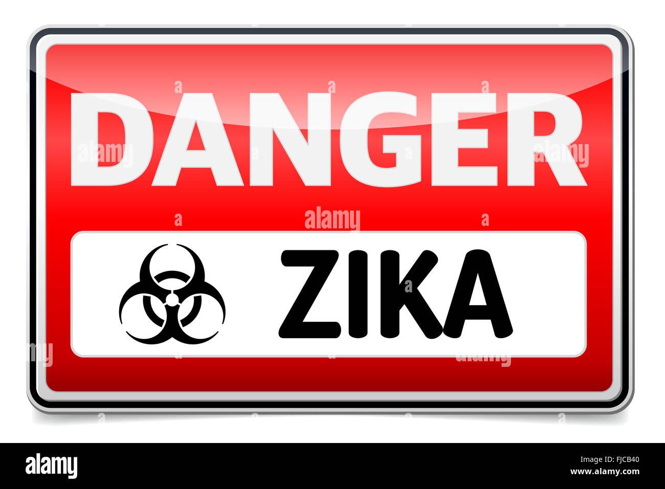 Zika Virus Warnschild mit Spiegeln und Schatten auf weißem Hintergrund. Stockbild