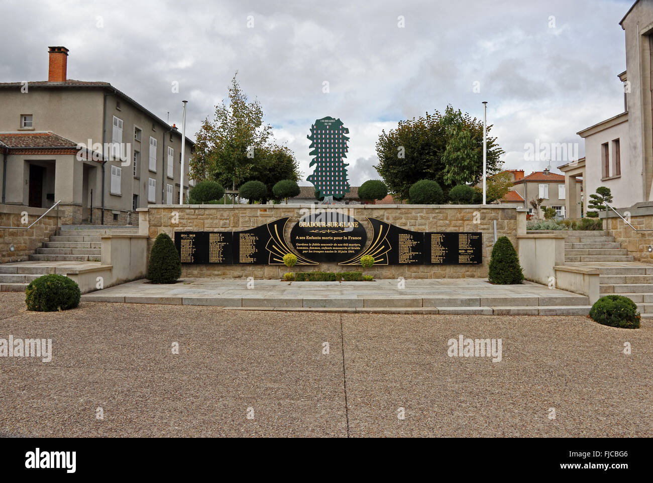 Denkmal für die 642 Menschen massakriert von den deutschen am 10. Juni 1944 in Oradour-Sur-Glane, Frankreich Stockbild