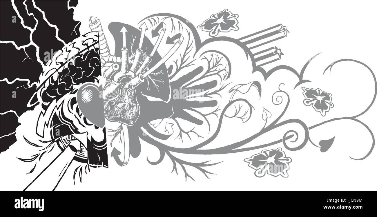 Eine vielseitige und dynamische Tattoo-ähnliche grafische Element ...