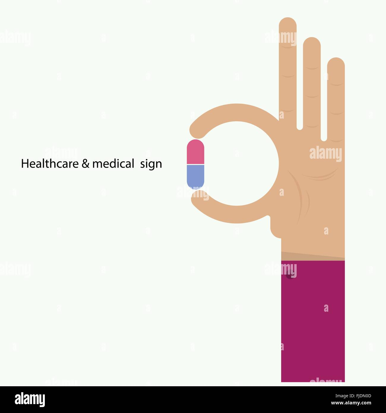 Hand und Medizin-Symbol. Symbol \