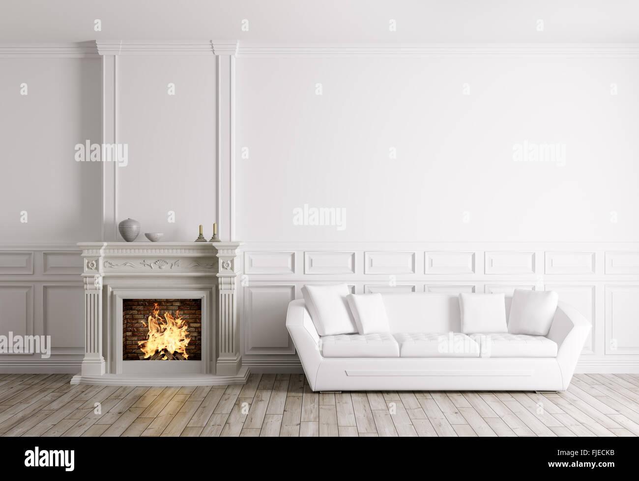 Klassische Einrichtung Von Wohnzimmer Mit Kamin Und Sofa 3d