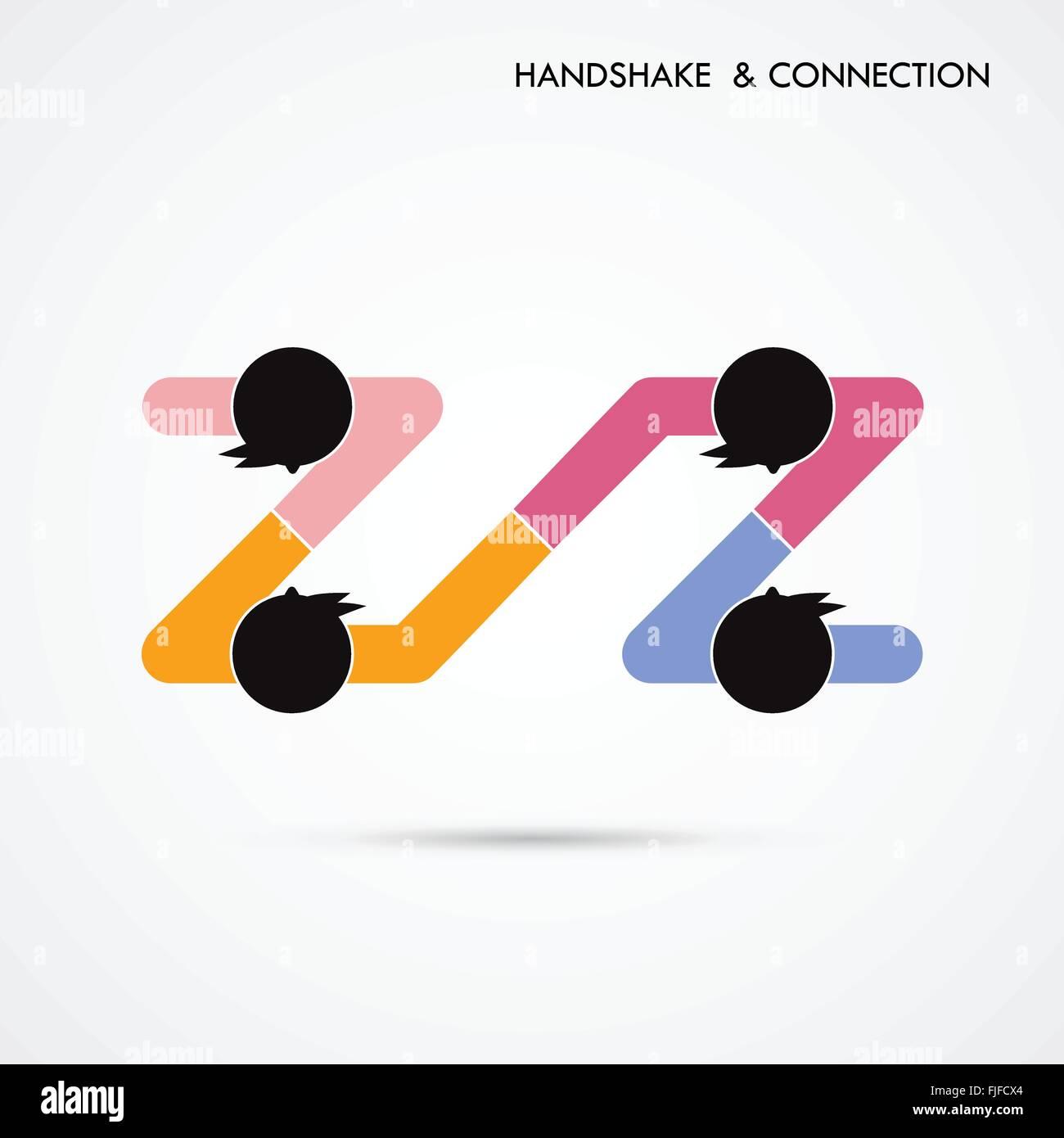 Handshake abstrakte Zeichen Vektor-Design-Vorlage. Kreative ...
