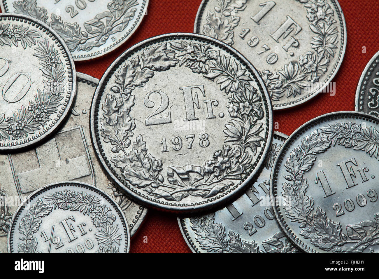 Schweiz Münze Münzen Währung Stockfotos Schweiz Münze Münzen