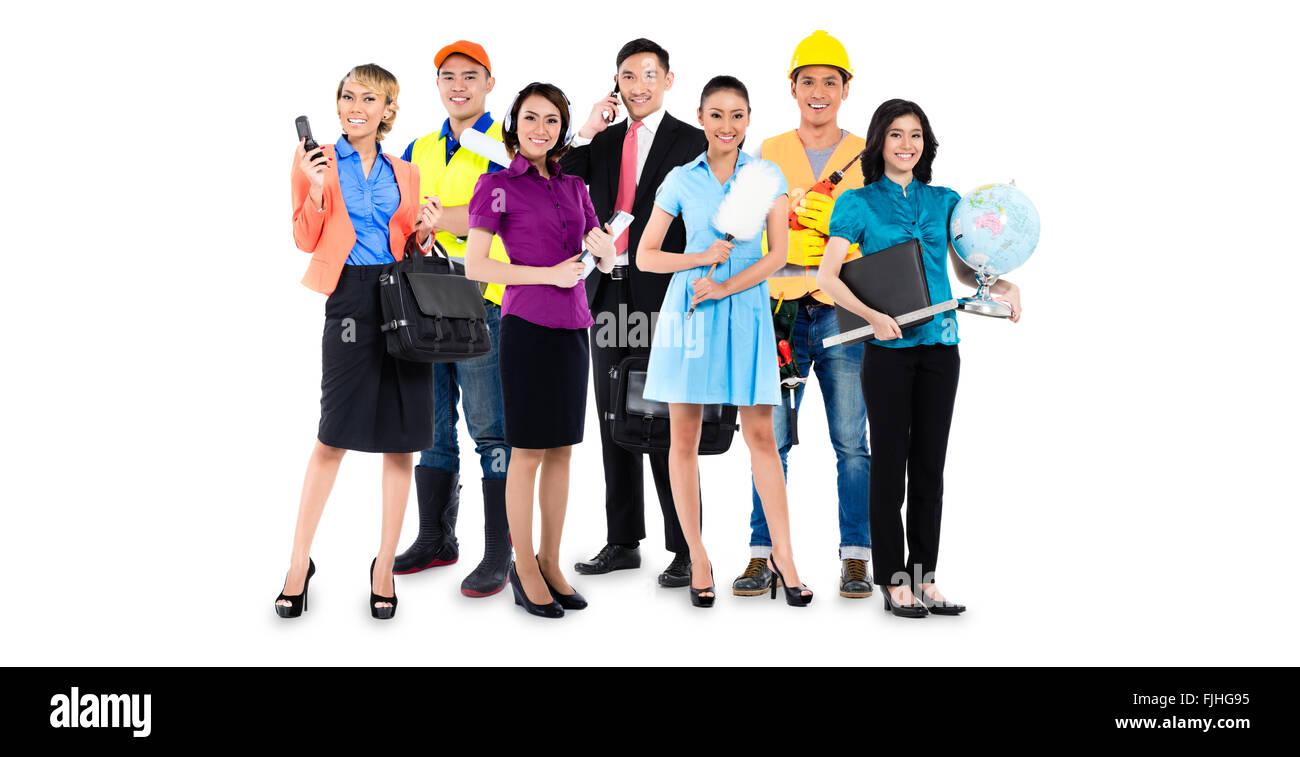 Gruppe von asiatische Männer und Frauen mit verschiedenen Berufe - Bauarbeiter, Lehrer, Unternehmer, Handwerker Stockbild