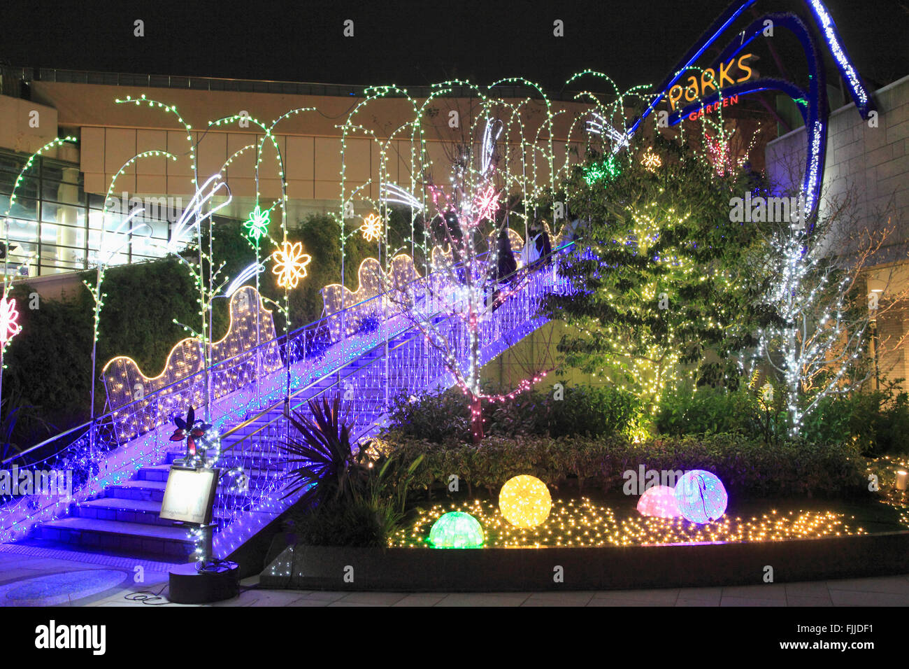 Japan, Osaka, Namba Parks, Nacht, Beleuchtung, Stockbild