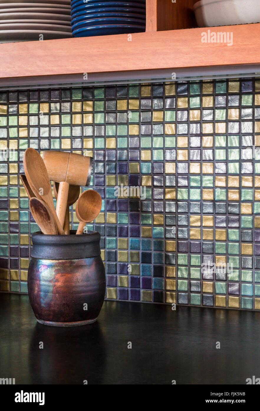 Detail von hoher Qualität, moderne Haus Küche Interieur mit ...