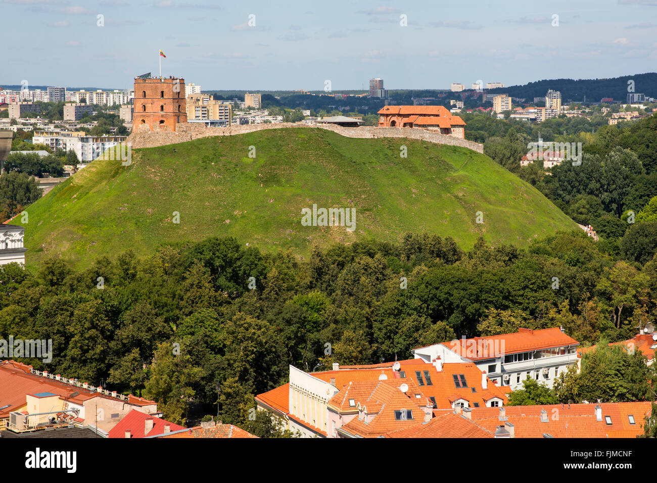 Geographie/Reisen, Litauen, Vilnius, Blick Richtung Schloss Gediminas, gedminas Tower, Additional-Rights - Clearance Stockbild