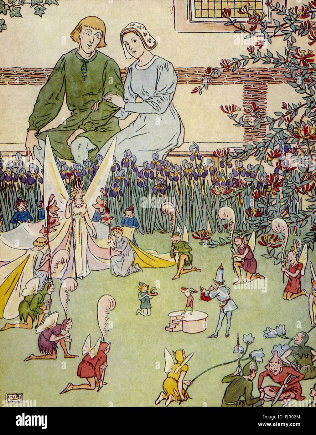 Däumling, die Feen-Königin und die Wichtel geben Kleidung zu Tom Thumb, von The Golden Goose Book, 1905, Stockbild