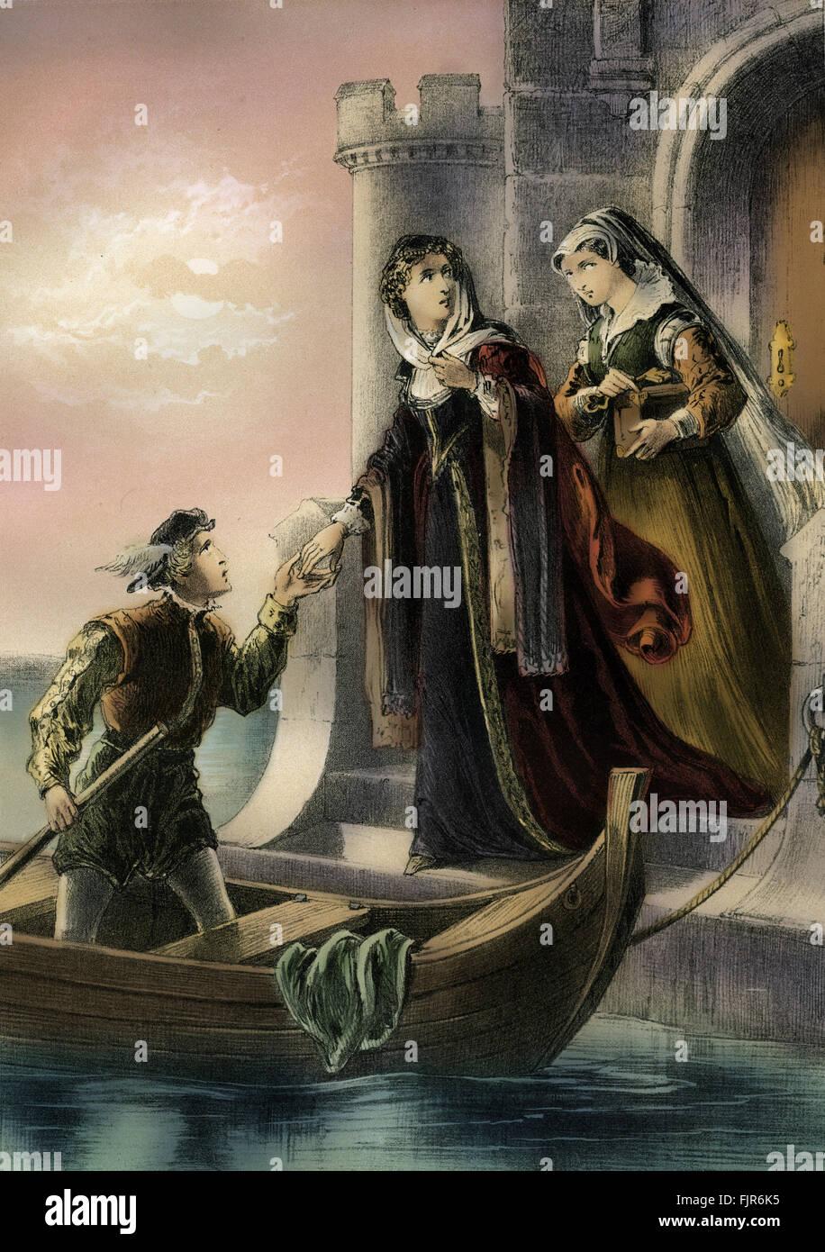 Mary Queen of Scots wurde im Jahre 1567 durch Sir William Douglas Glassin Turm von Loch Leven Castle inhaftiert. Stockbild