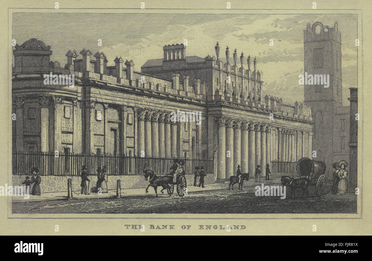 die bank of england 1835 historische london stockfoto bild 97626870 alamy. Black Bedroom Furniture Sets. Home Design Ideas