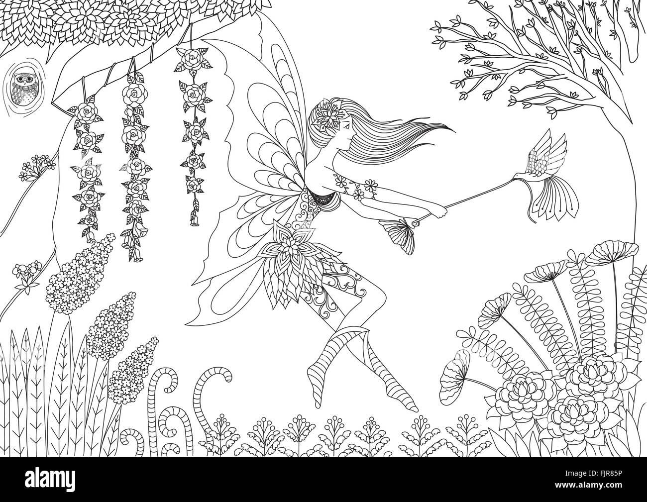 Illustration Beautiful Girl Coloring Book Stockfotos & Illustration ...