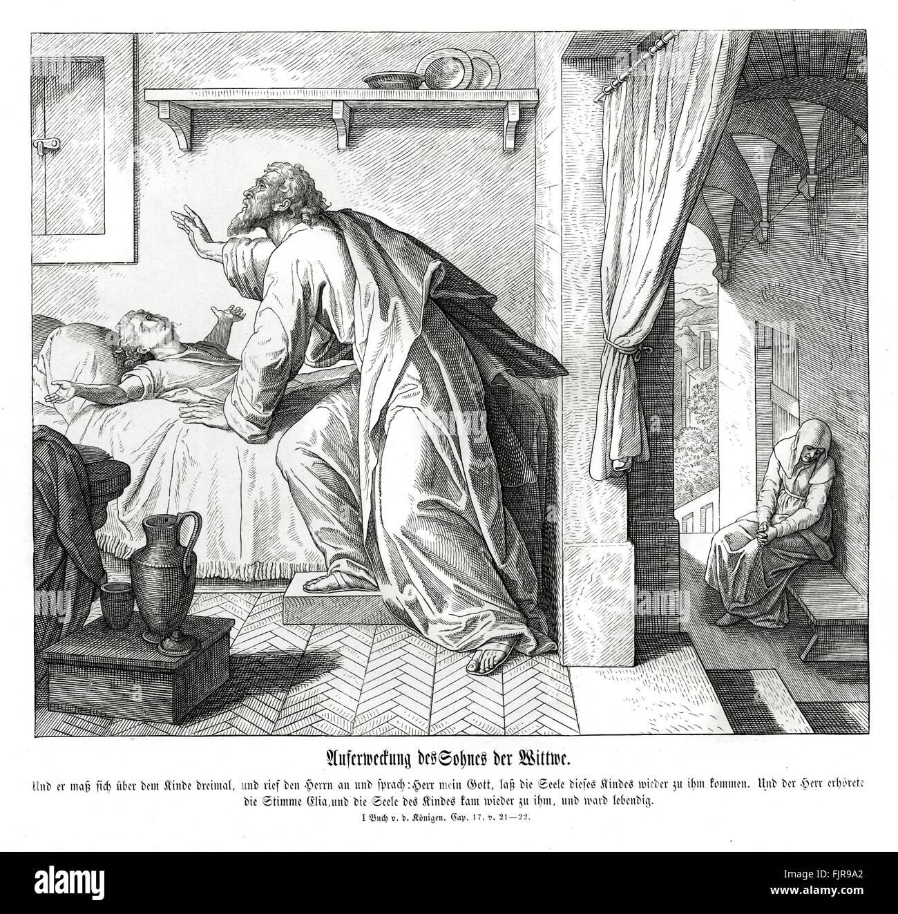 """Wiederbelebung der Sohn der Witwe, 1 Könige Kapitel XVII Verse 21-22 """"und er streckte sich auf das Kind Stockbild"""