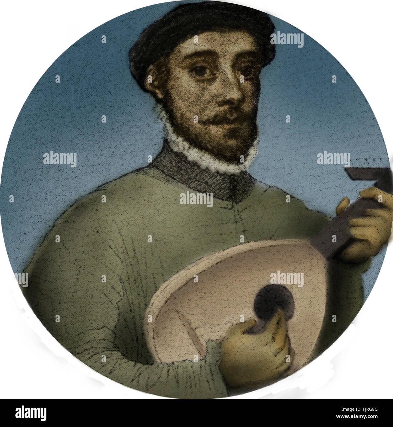 Rizzio / Riccio - Portrait des italienischen Bass & Diplomat hält laute und Ständchen Mary Queen of Stockbild
