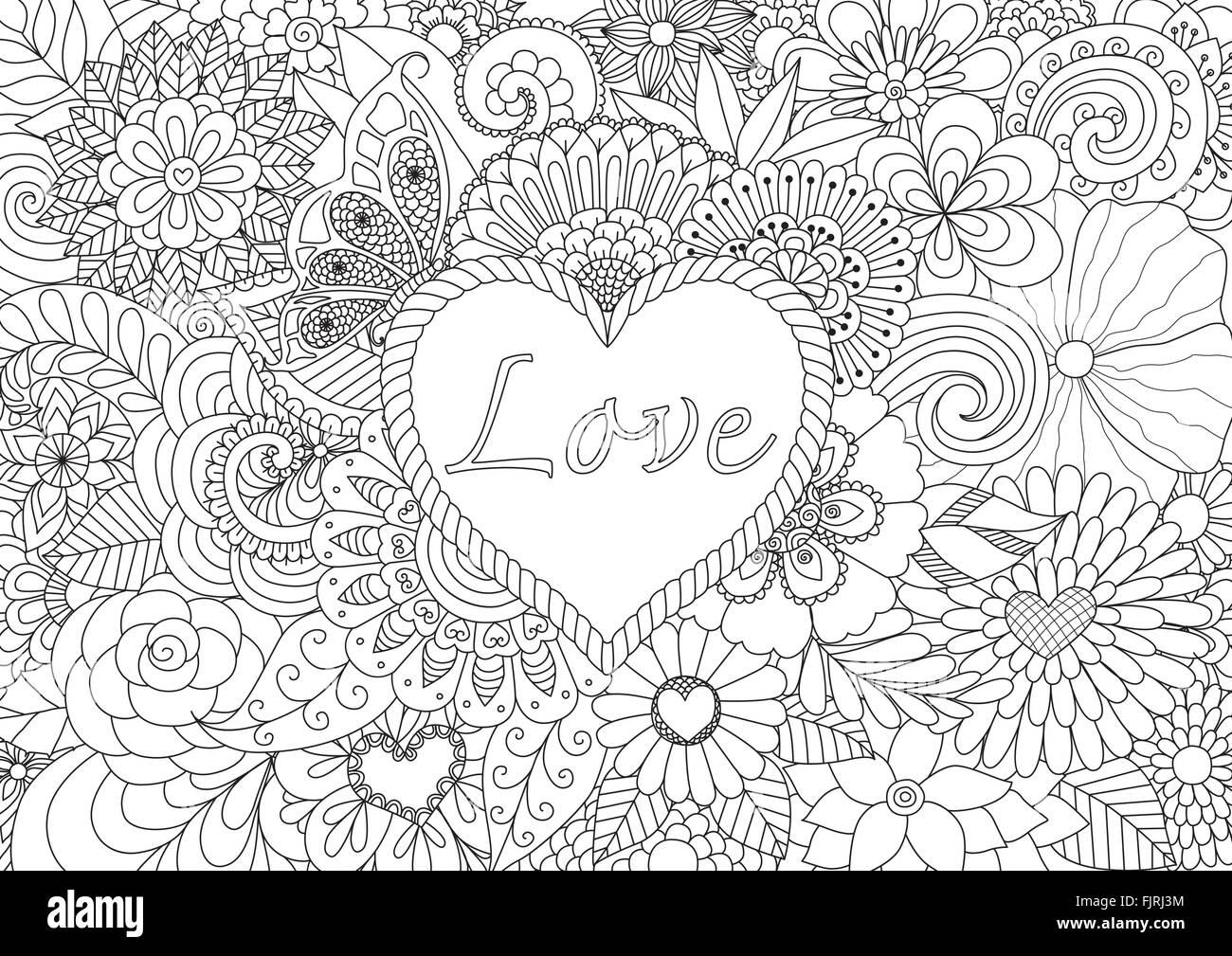 Linie künstlerischer Entwurf der Herzform mit Liebe Typografie auf ...