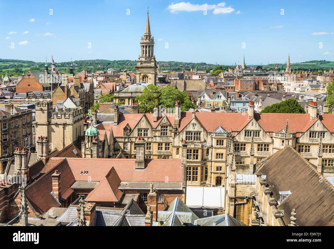 Mittelalterliche Skyline von der Universitätsstadt Oxford England.   Aussicht-deutschen sterben Altstadt von Stockbild