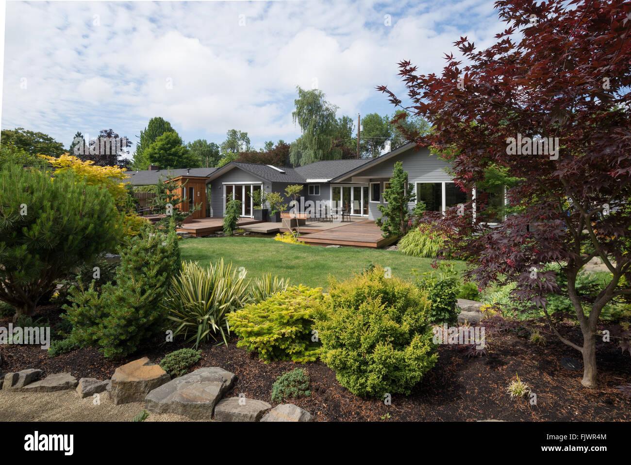 Ein Zeitgenössisches Zuhause Sehen Sie über Den Hinterhof Rasen Mit Rock  Und Immergrünen Landschaft Im Vordergrund An Einem Milden Sommerabend