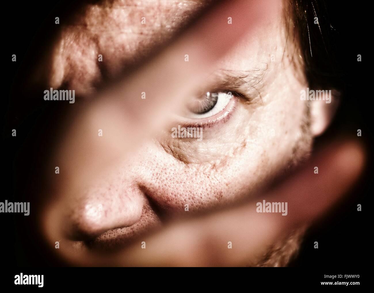 Close-up Portrait von reifer Mann Stockbild