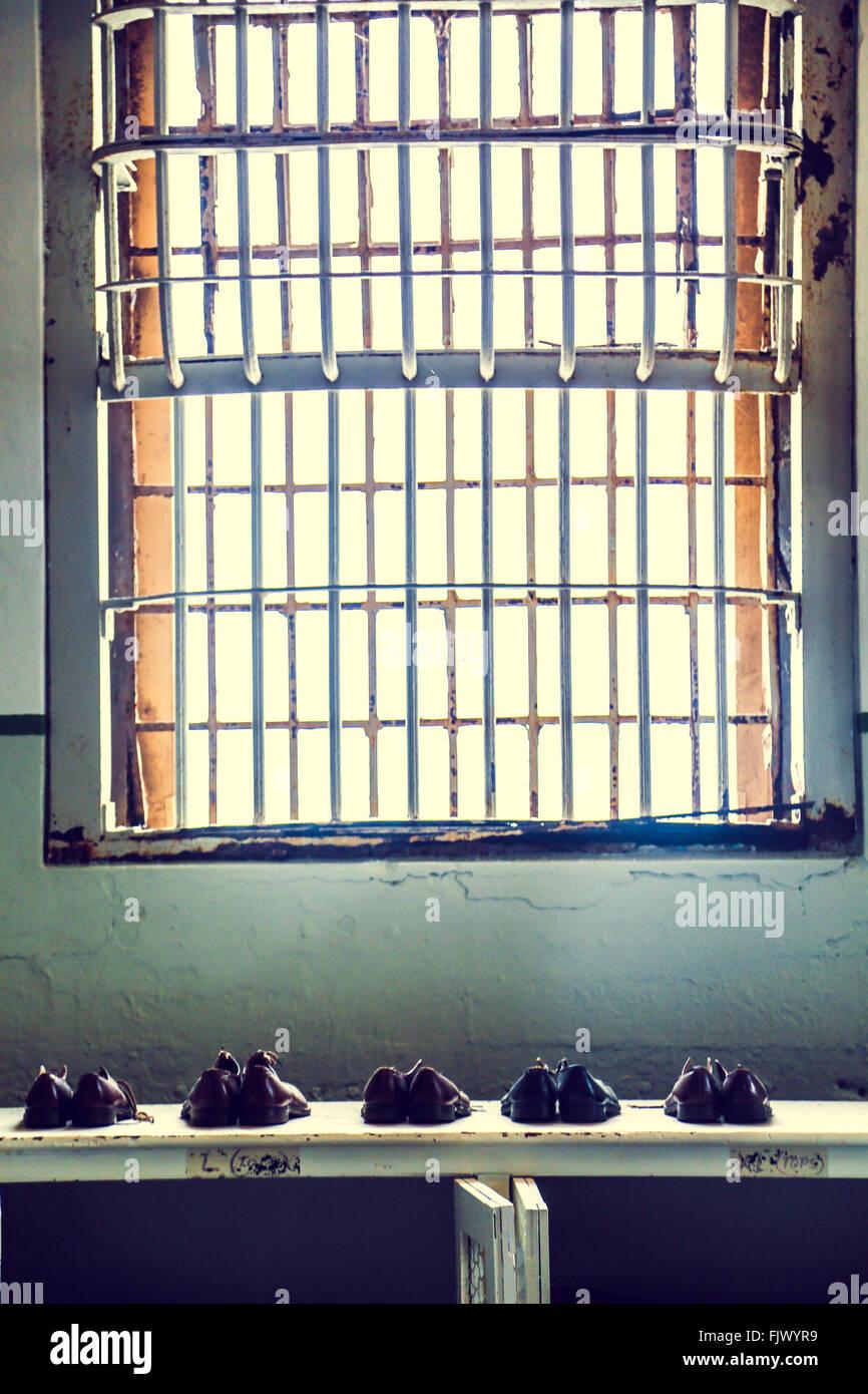 Alcatraz Gefängnis Schuhe, San Fransisco Stockfoto