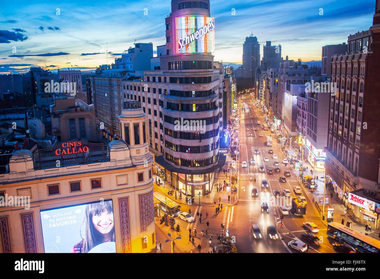 Callao Square und Gran Via Avenue, in der mittleren Capitol Building.  Madrid. Spanien. Stockbild