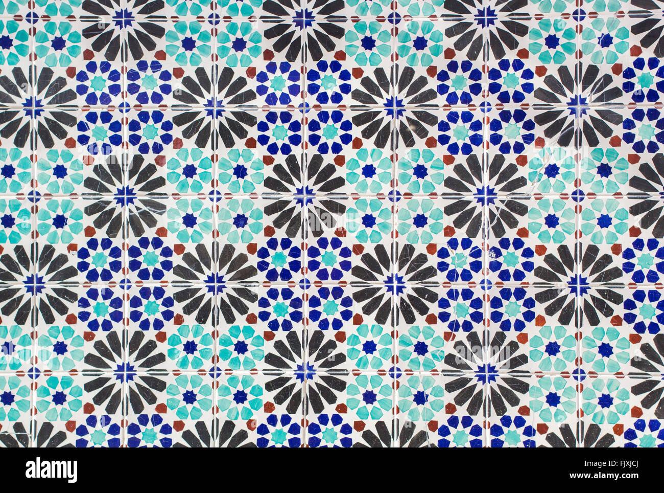 Keramische Fliesen Muster In Blau Turkis Und Schwarz Stockfoto Bild