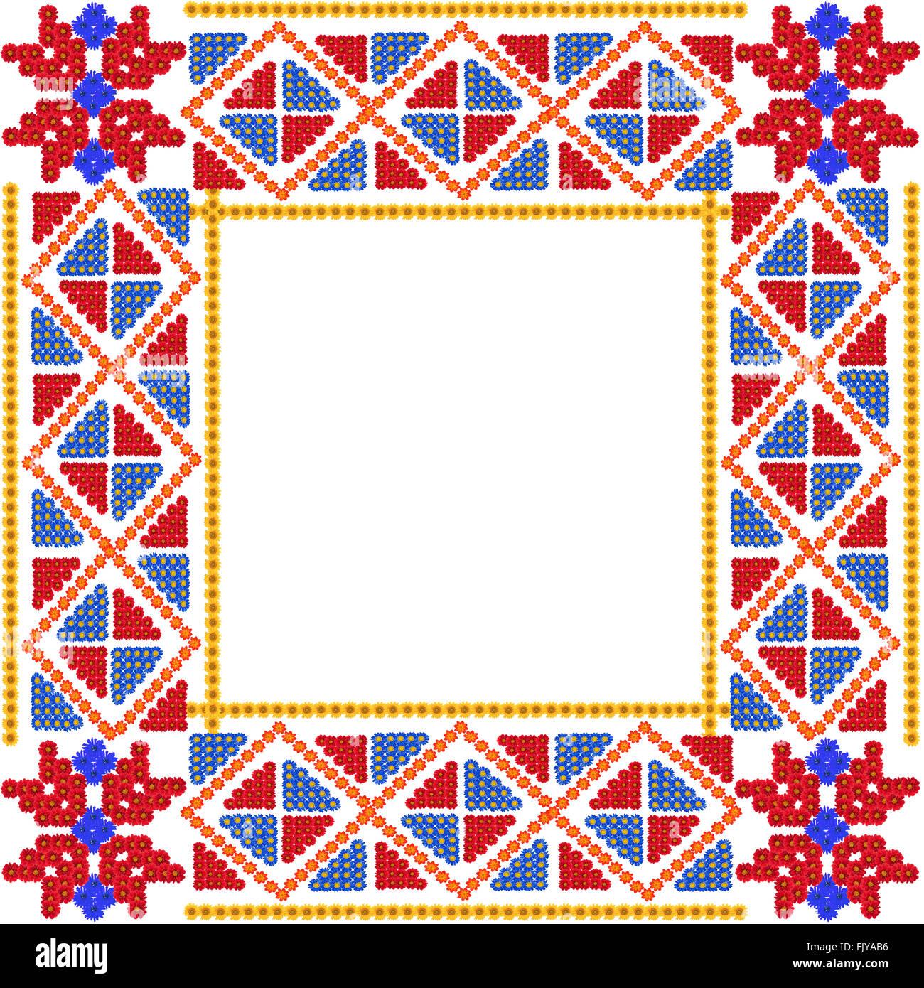 Mosaik Quadrat einfachen roten Rahmen im Village Stil hergestellt ...