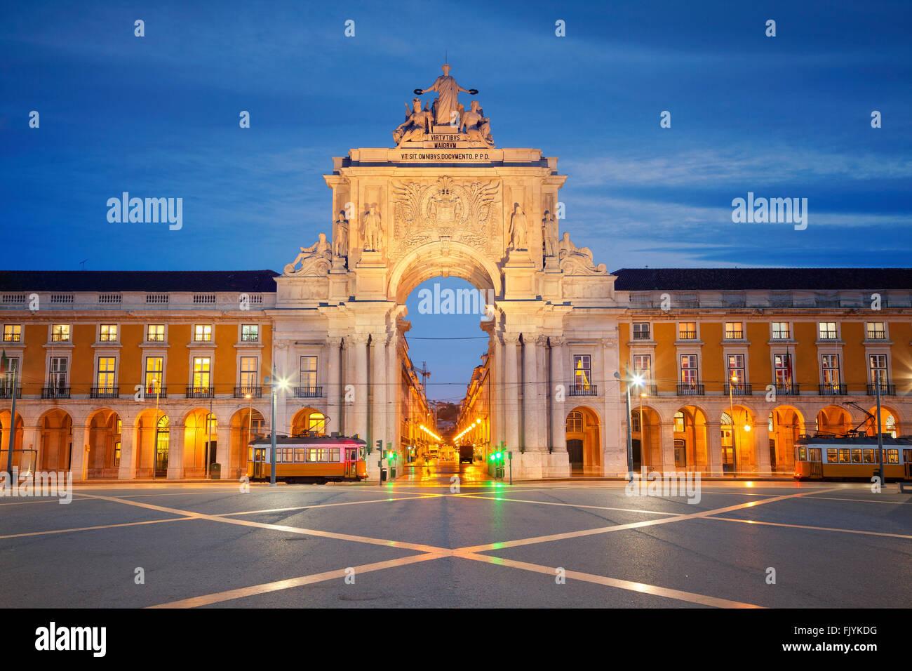 Lissabon. Bild der Triumphbogen in Lissabon, Portugal. Stockbild