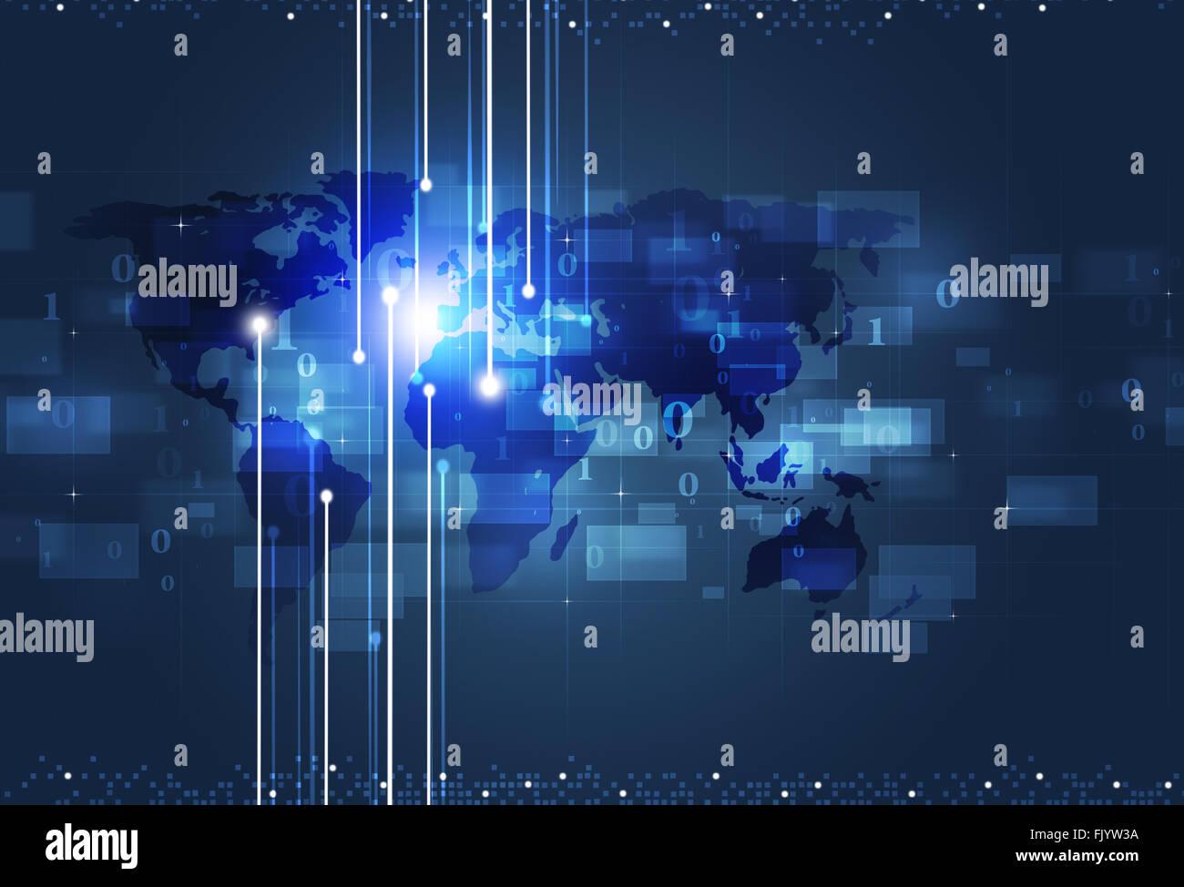 Kommunikation Technologie Gesamtkonzept blau Business-Hintergrund Stockbild