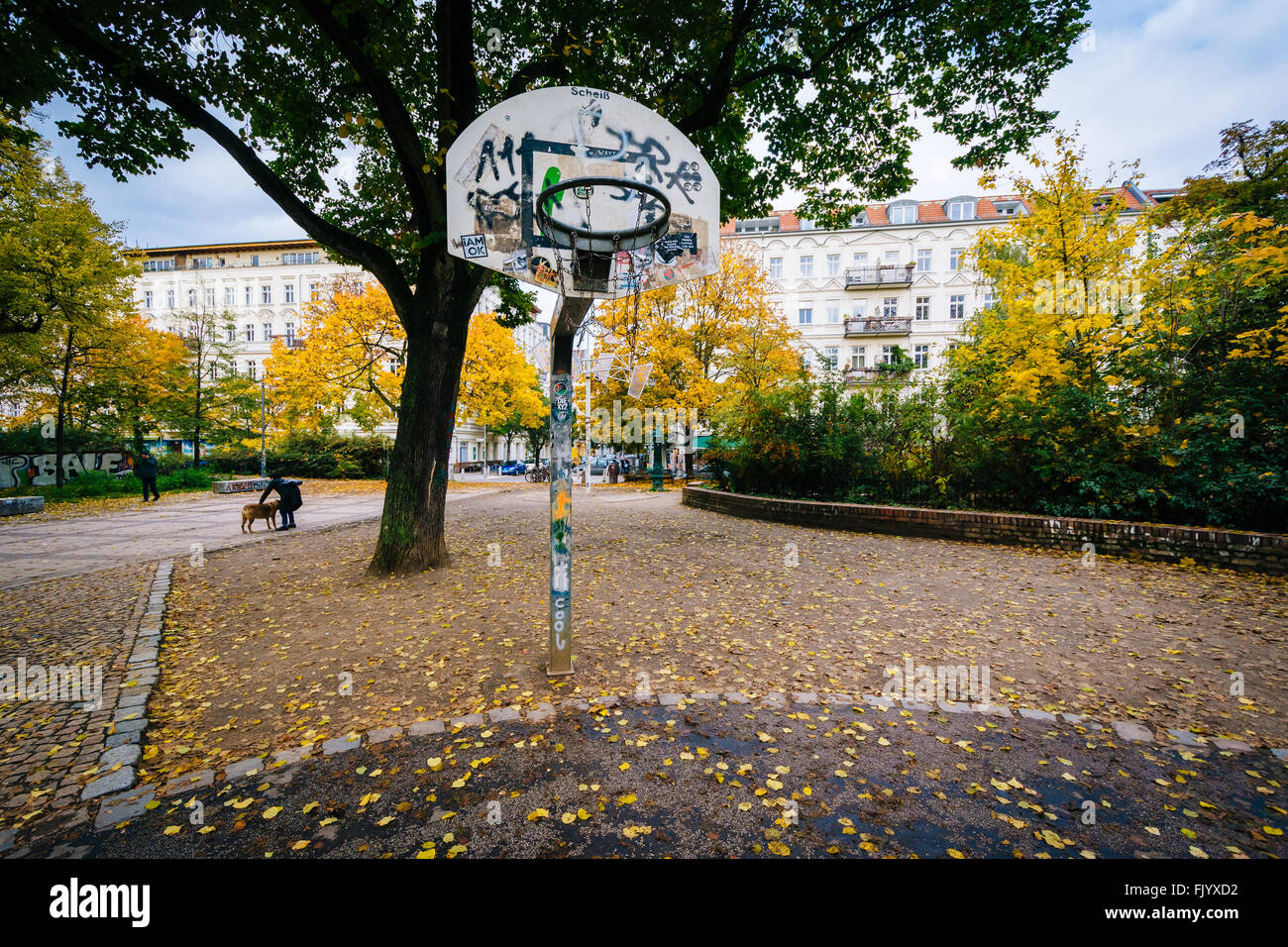 Basketball Hoop Und Herbst Farbe Am Helmholtzplatz In Prenzlauer