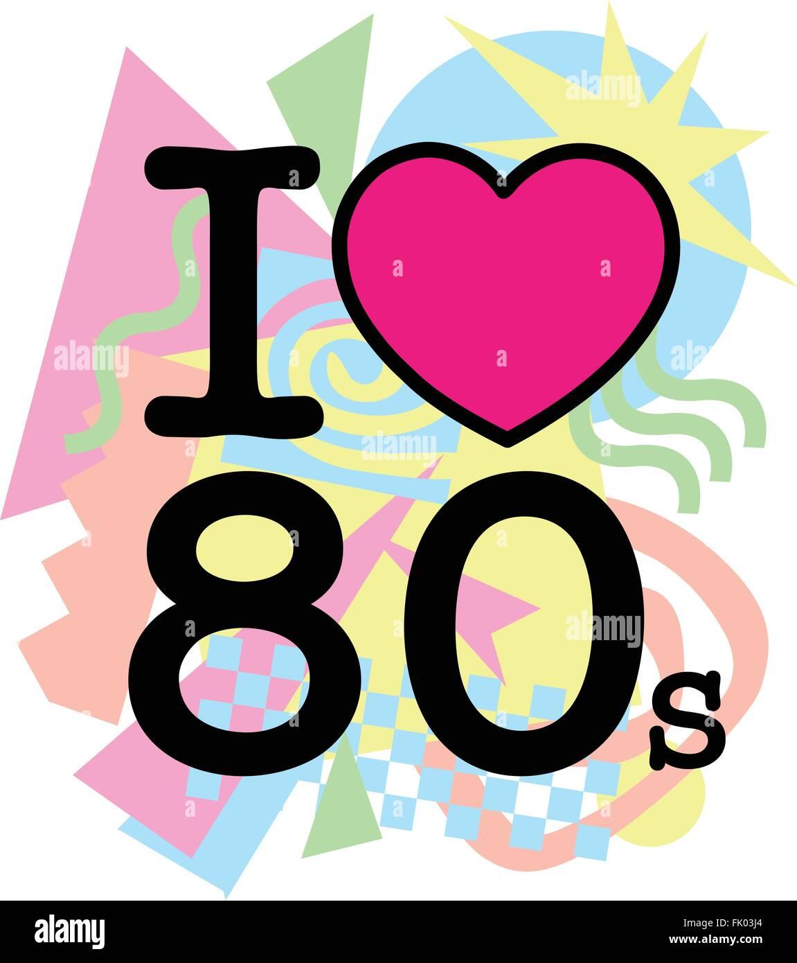 Ich liebe alte 80er Jahre Stil Stockbild