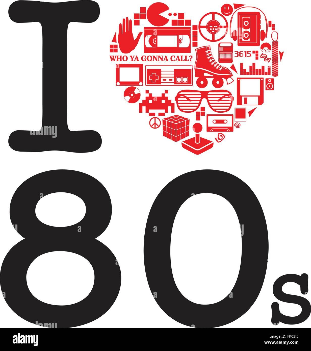 Ich liebe die 80er Jahre Stockbild